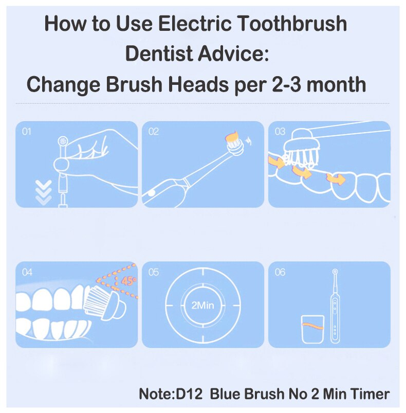 Oral B Electric Toothbrush Rotating Vitality D12013 Rechargeable Teeth Brush Oral Hygiene Sonic Tooth Brush Teeth Brush Heads