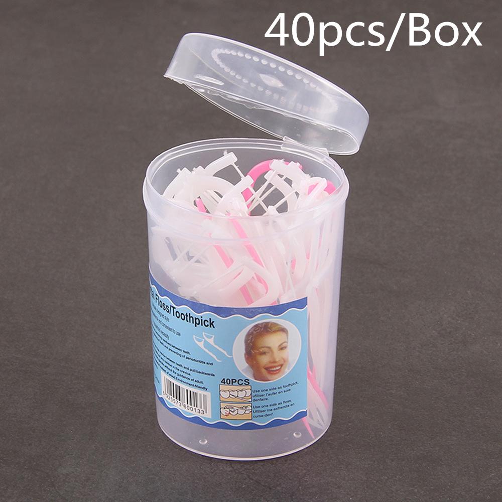 50Pcs Disposable Dental Floss Dental Cleaning Tooth Stick 7.5cm Floss Pick Interdental Brush Dental Flosser for Teeth Cleaning
