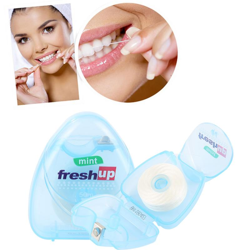 50m Portable Dental Flosser Oral Hygiene Interdental Teeth Cleaning Wax Mint Flavored Dental Floss Spool Toothpick Tool