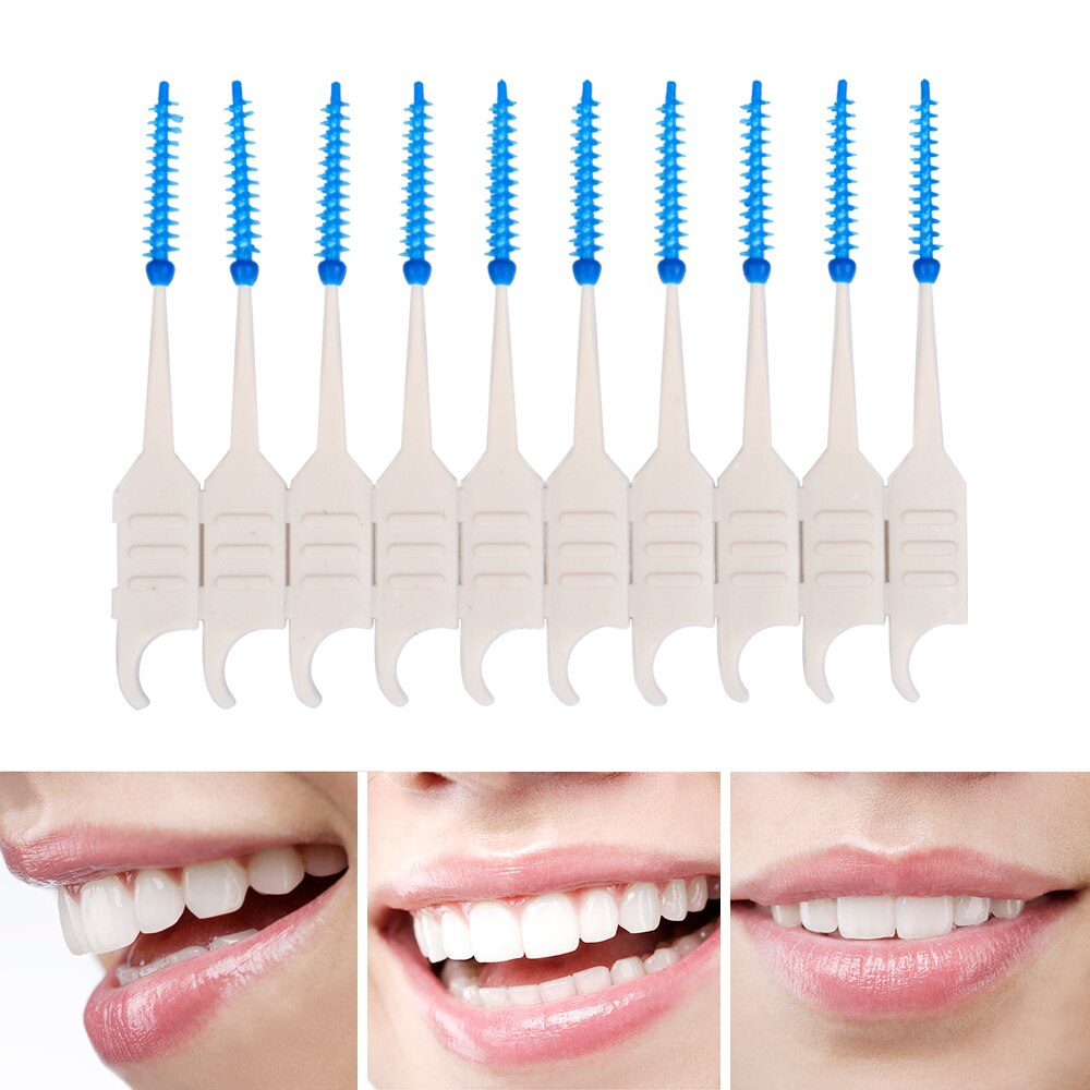 20PCS Dental Floss Interdental Brush Teeth Stick Dental Flosser Toothpick Soft Silicone Floss Pick Oral Hygiene Tooth Cleaning