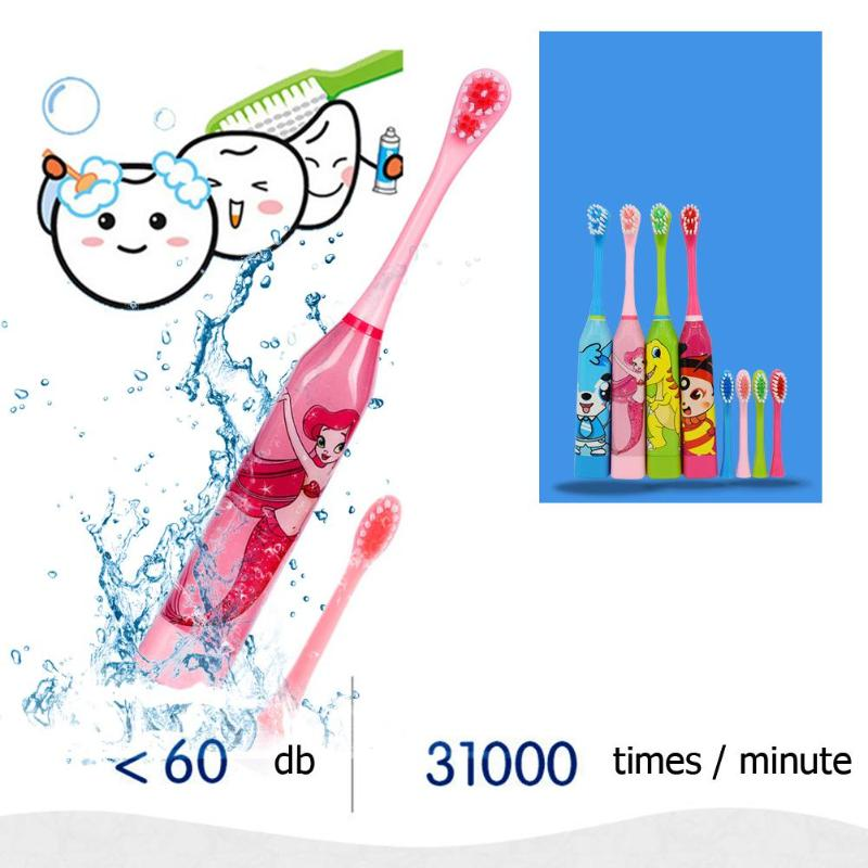electric toothbrush for children kids Acoustic Wave replacement brush heads Cartoon anime toothbrush Beneficial oral hygien