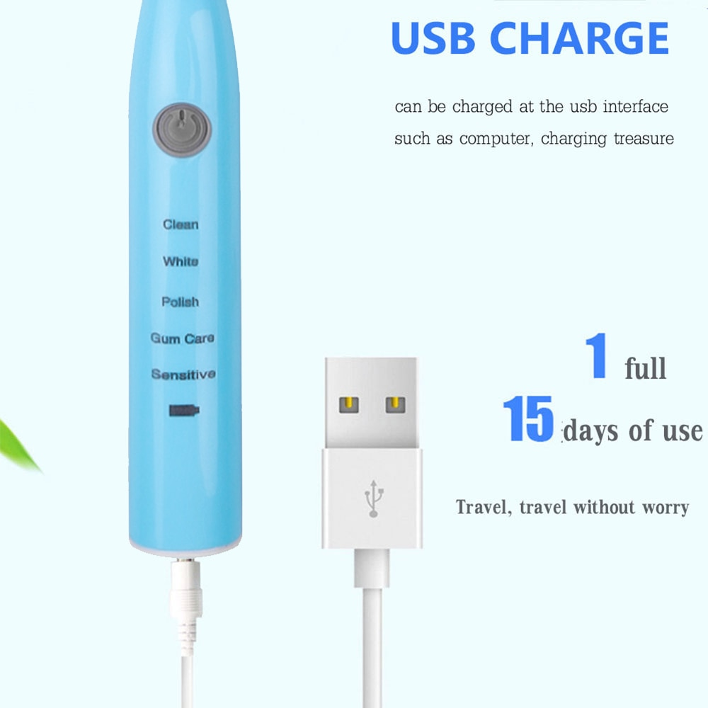 Ultrasonic Electric Toothbrush Vibration Whitening Rechargeable Oral Hygiene Cleaning Replacement Teeth Brush Heads 1+5 Pcs