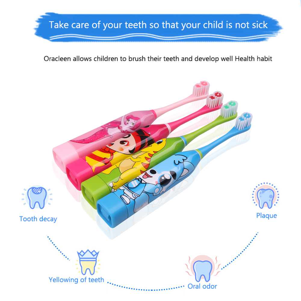 4 Colors Electric Toothbrush Cartoon Pattern Double-sided Waterproof Brush Oral Cleaning For Kids With 2pcs Replacement Head