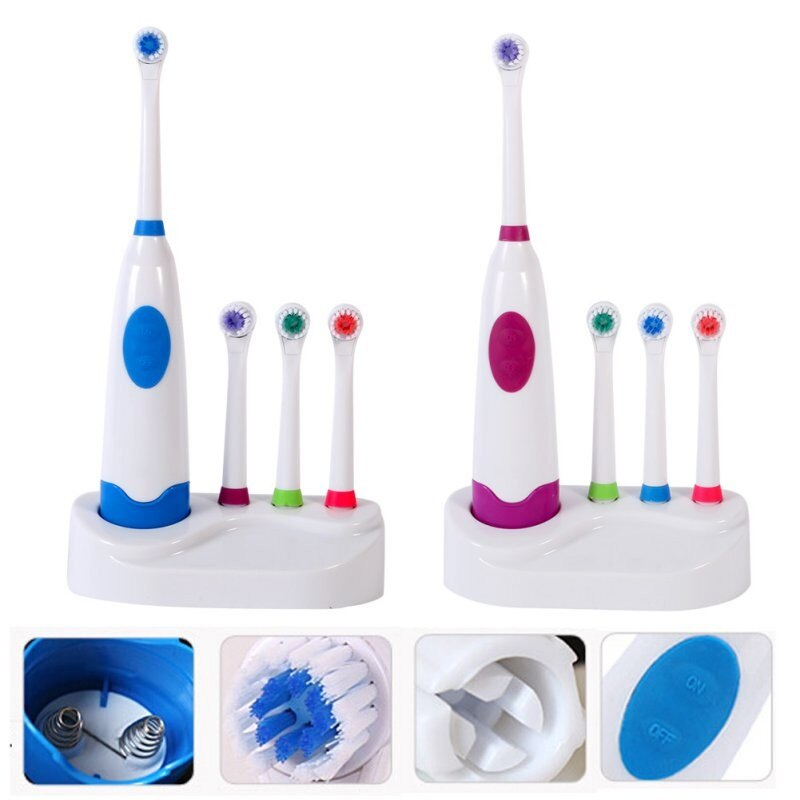 4 Colors Waterproof Soft Electric Toothbrush With Elastic Nozzle Brush Heads Replacement Teeth Whitener Cleaning Oral Hygiene