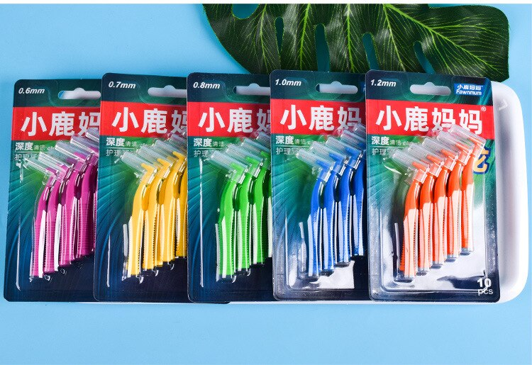 10Pcs/set L Shape Push-Pull Interdental Brush Oral Care Teeth Whitening Dental Tooth Pick Tooth Orthodontic Toothpick ToothBrush