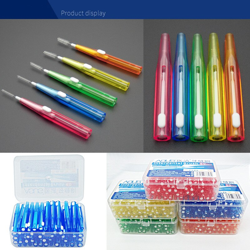 60 Pcs/Pack Push-Pull Interdental Brush Gum Interdental Tooth Brush Orthodontic Wire Brush Toothbrush Oral Care Toothpick