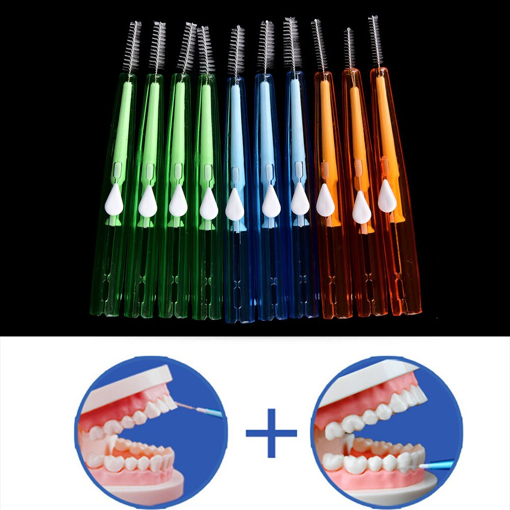 10pcs Interdental Brush Clean Adults Between Teeth Dental Floss Pick Push-pull Toothpick Cleaning Dental Brushes Teeth Care