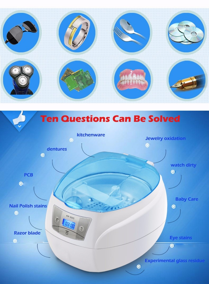 Ultrasonic Cleaner Jewelry Dental Watch Glasses Toothbrushes Cleaning Tool 750ml Ultrasonic Washing Machine cleaning