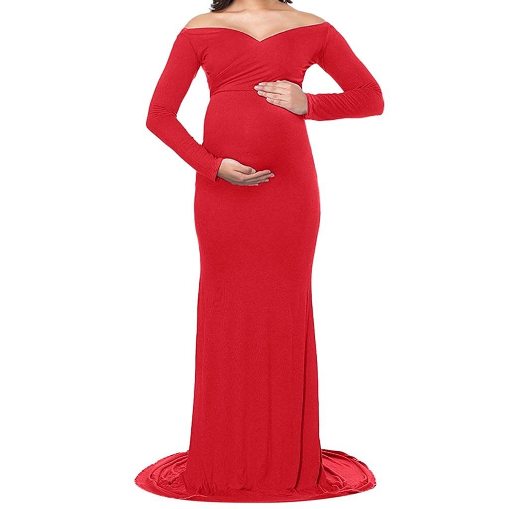 LONSANT Maternity dress Women Solid color dress  party Floor Length Long Dress  shoulderless Women  Photography clothing
