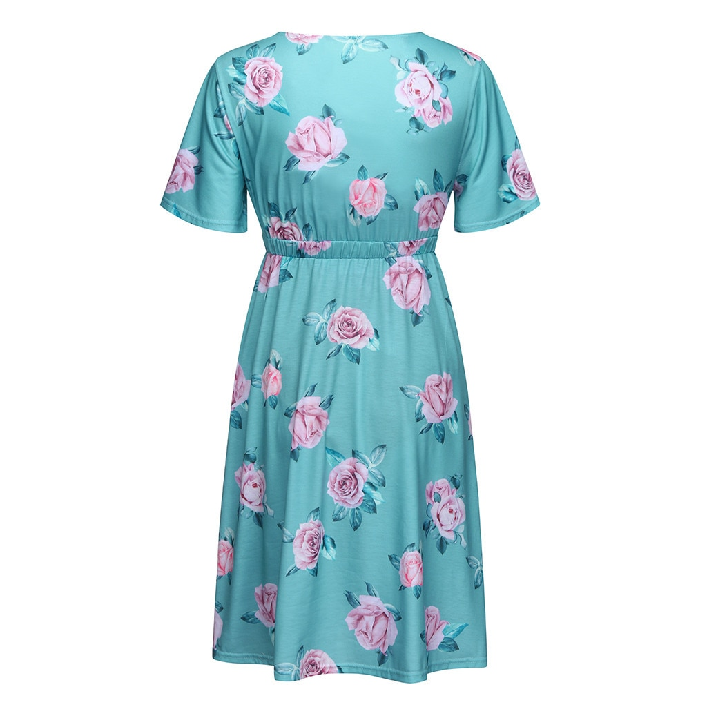 Maternity Summer clothes for pregnant women Maternity Pregnant dress Short sleeve Maternity Dress Flower Maternity ropa de muje