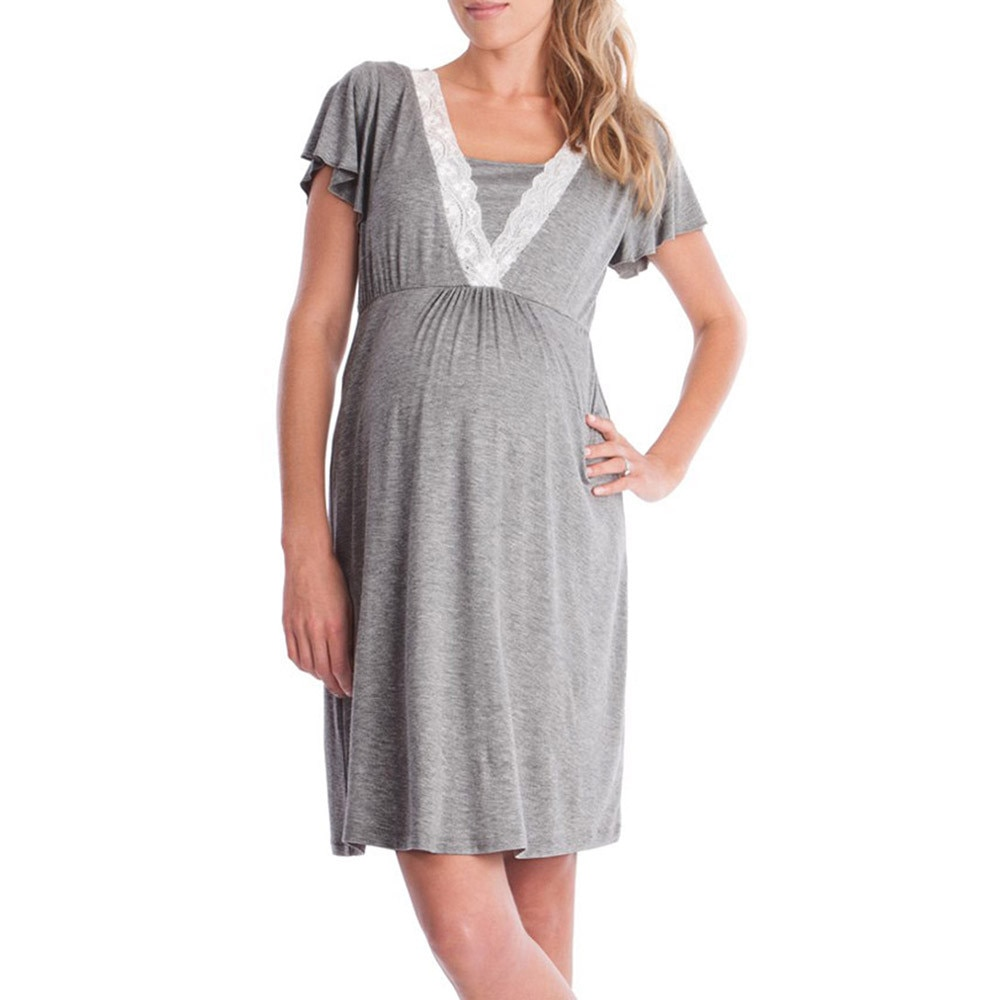 LONSANT Maternity dress Womens Solid  Lace Pregnants Casual dress fashion Mother clothing Nursing Baby For Maternity  Dress