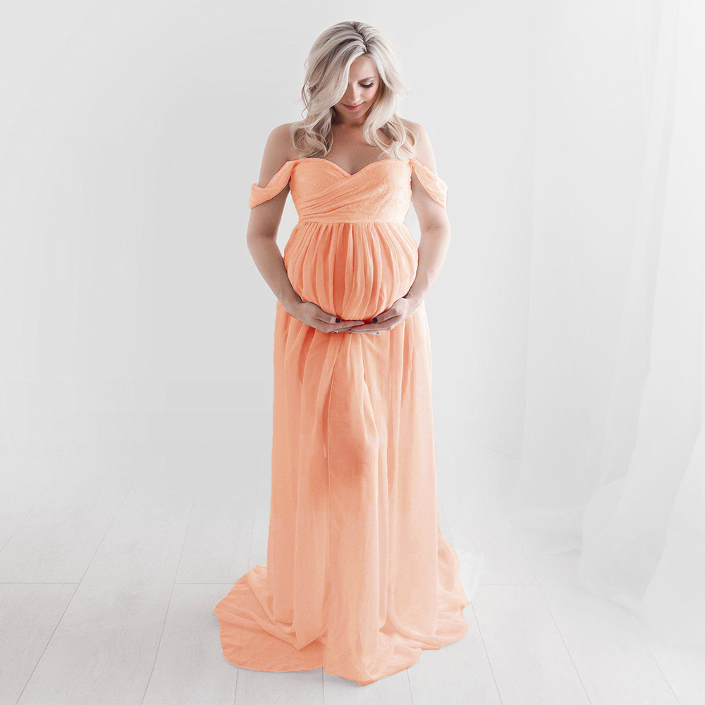 Sexy Maternity Dresses For Photo Shoot Chiffon Pregnancy Dress Photography Prop Maxi Gown Dresses For Pregnant Women Clothes D15