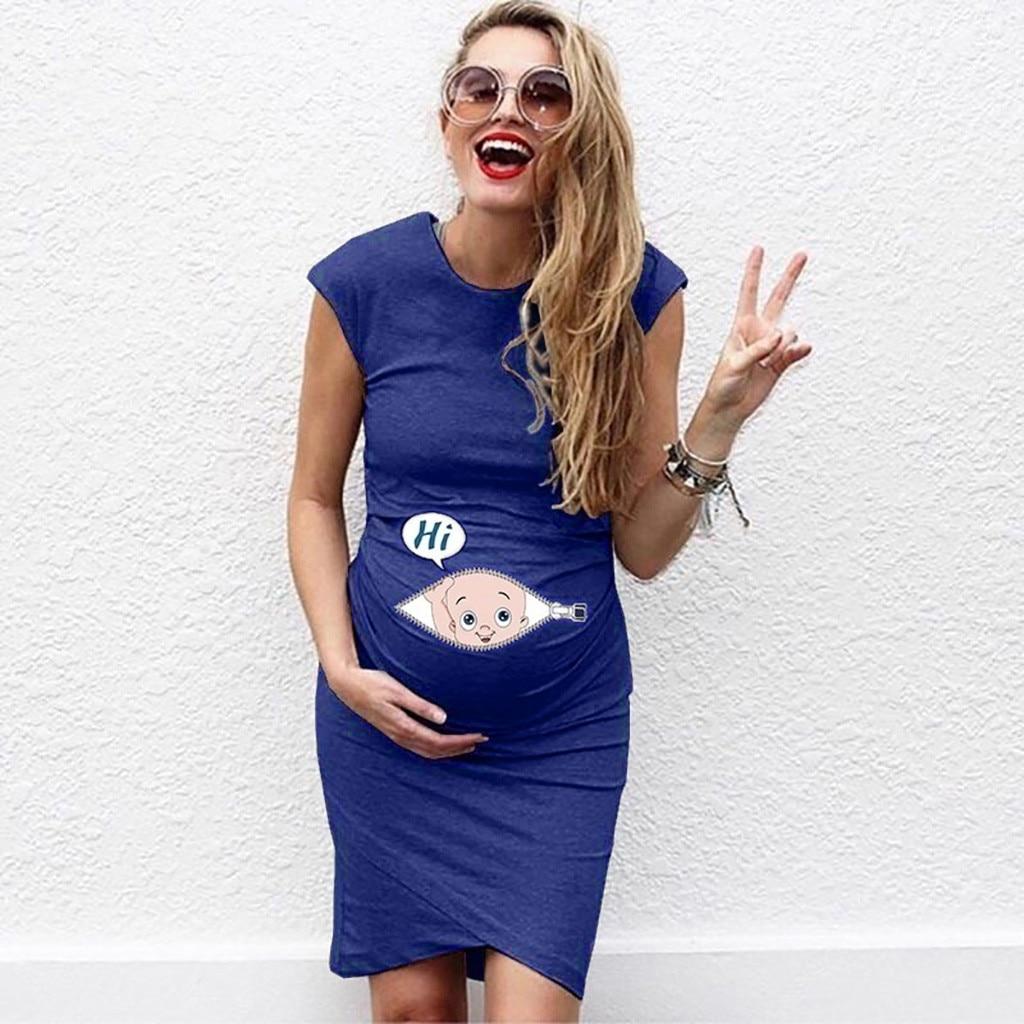 LONSANT Maternity Dresses Maternity Clothes Women Sleeveless Pregnancy Maternity Dress Cartoon Letter Print Dress Nusring