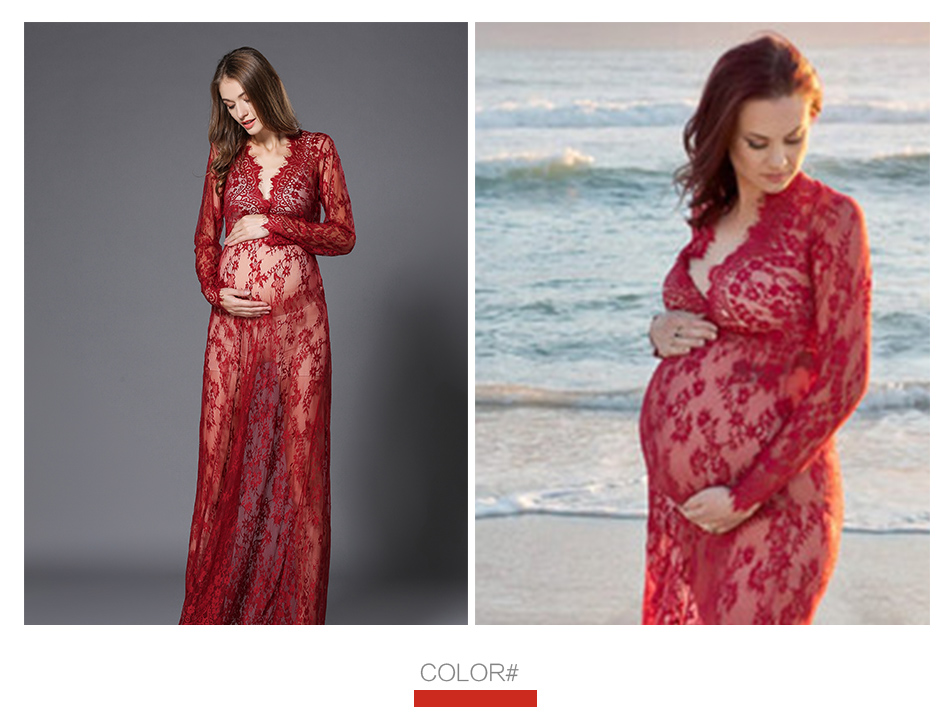 Lace Maternity Dresses For Photo Shoot Summer Long Pregnancy Dress for Photography Maternity Gown Sexy Costumes Nursing Dress