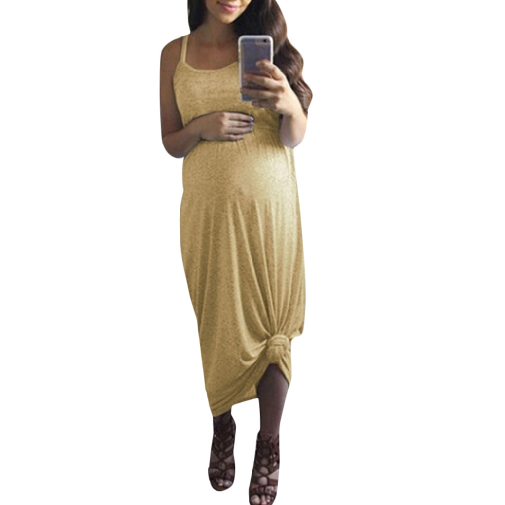 LONSANT Maternity Sleeveless Vest Dresses Casual Solid Holiday Pregnancy Dresses Pregnant Sundress Dresses For Women's Clothes