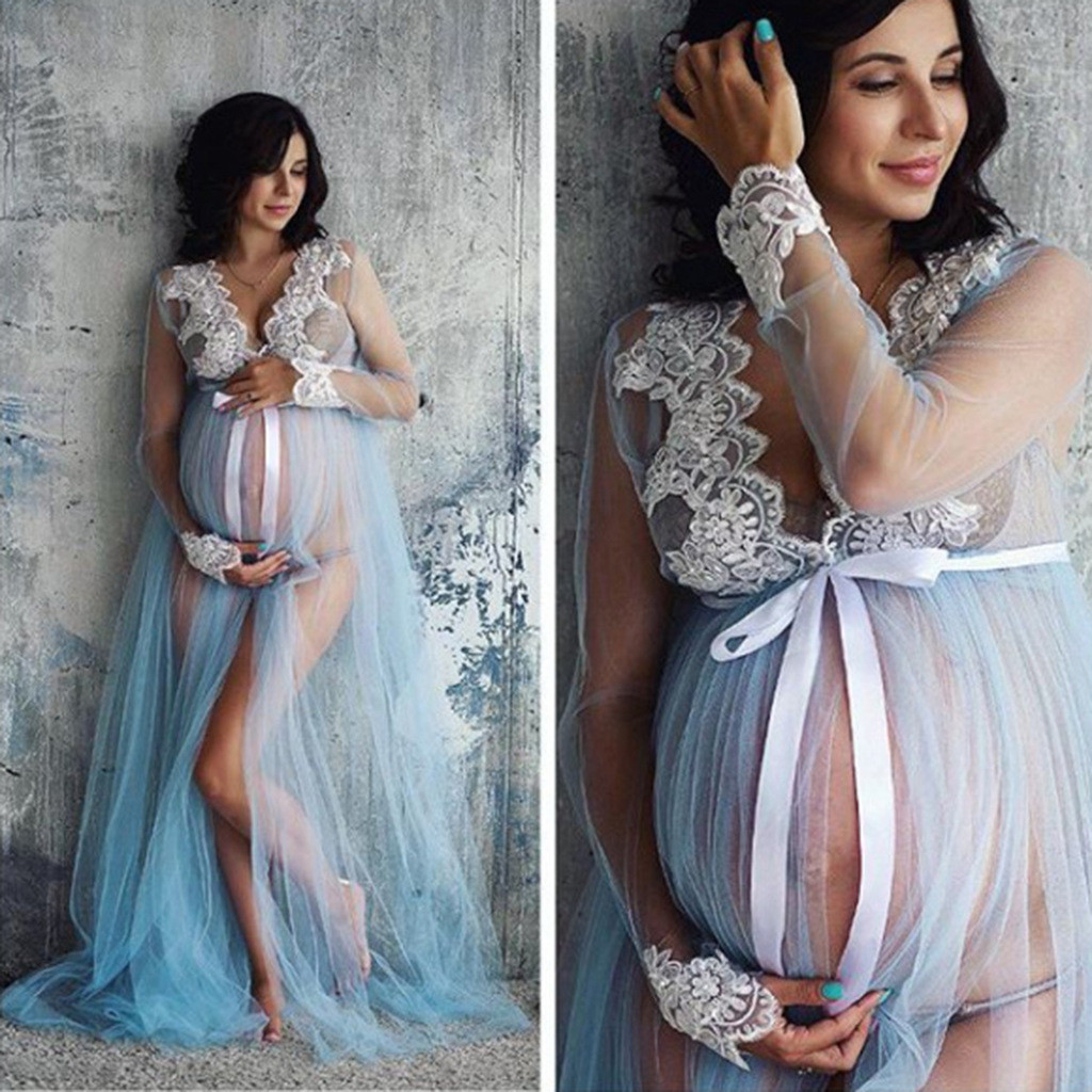 Fashion Pregnancy dress sexy Maternity Dress Women Pregnancy Lace Front split Long Maxi Dress robe femme enceinte#guahao