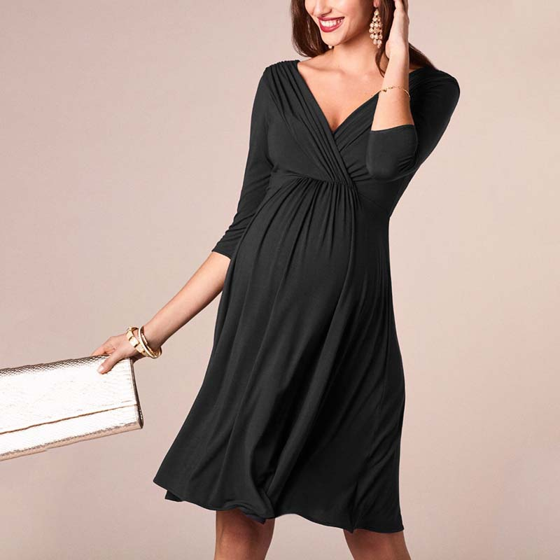 Casual Maternity Dresses Nursing Breastfeeding Clothes Summer Long Sleeve Loose Pregnant Women Nursing Tops Dress O-neck