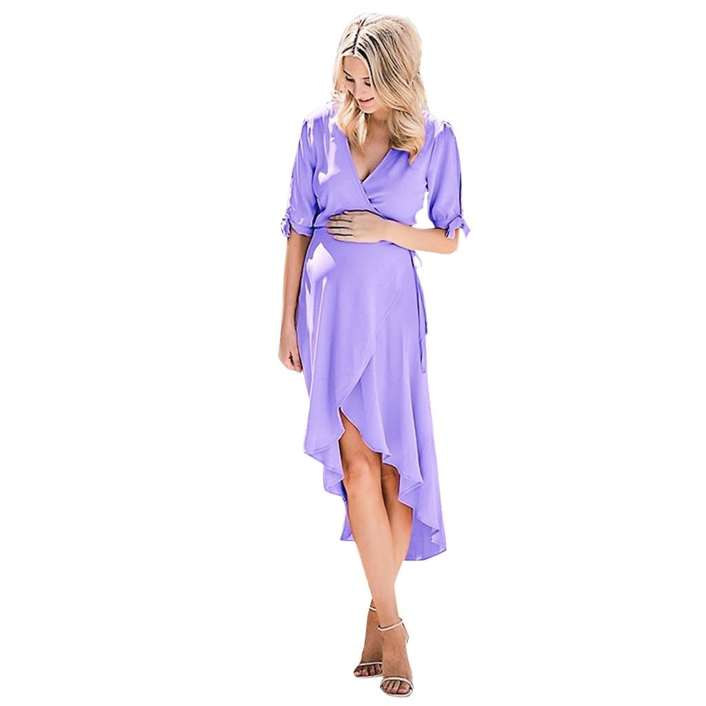 Maternity Dresses Evening Fashion Solid Short Sleeve V-Neck Ladies Casual Pregnant Dress Elegant Summer Maternity Clothes