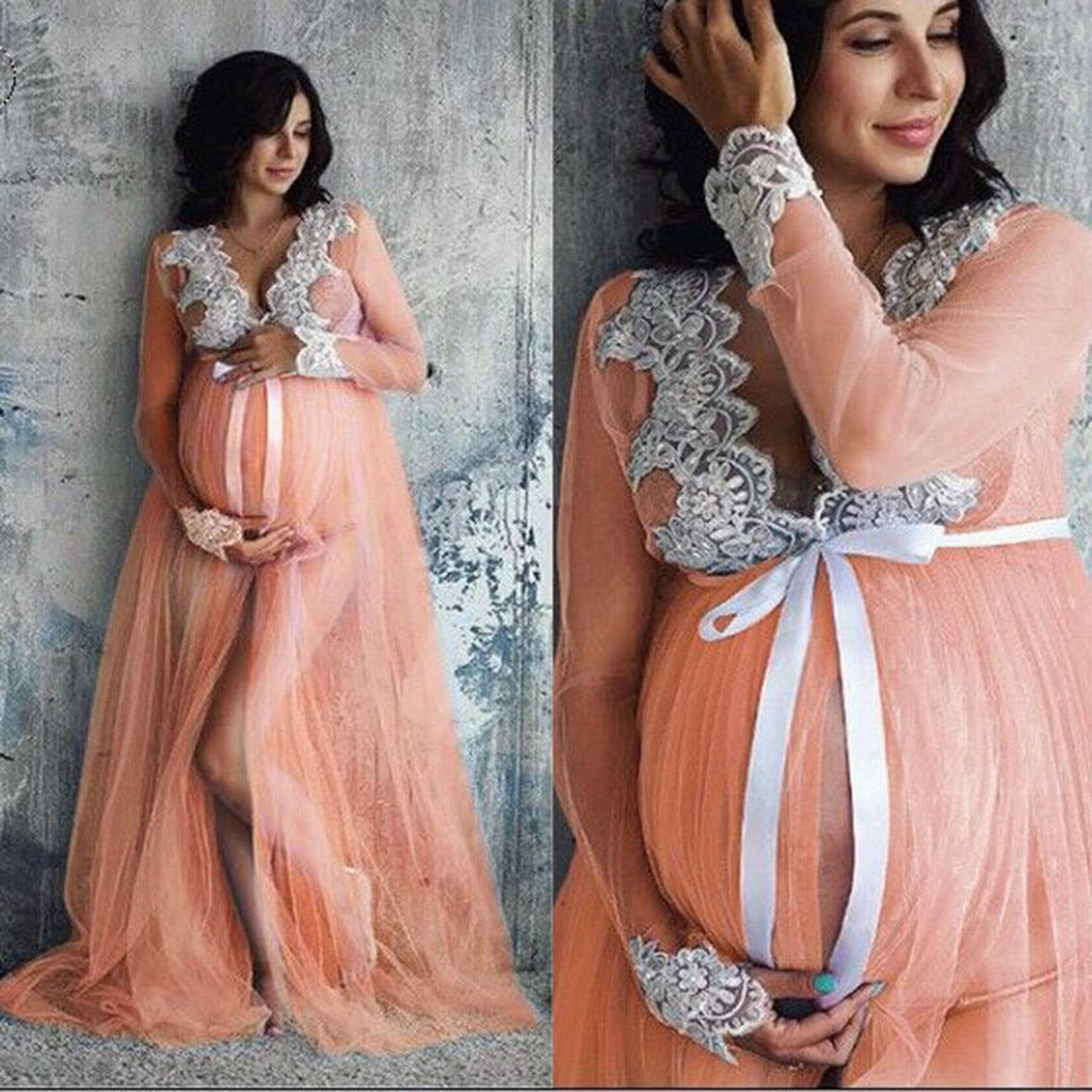 Lace maternity photography props maxi Maternity gown Lace Maternity Dress Fancy shooting photo summer pregnant dress Plus Size