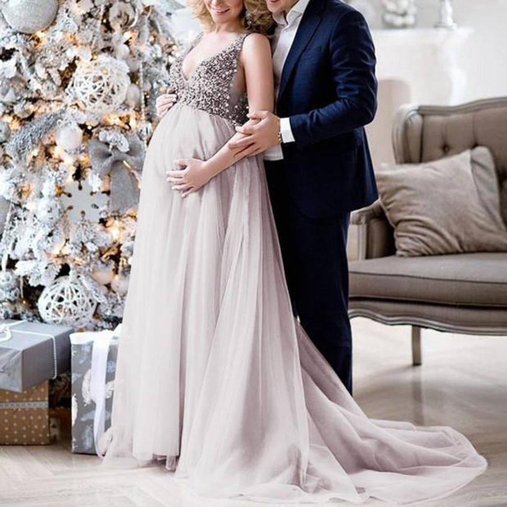 Sexy maternity dresses for photo shoot Women Pregnant Sling V Neck Sequin Cocktail Long Maxi Prom Gown pregnancy dress#guahao