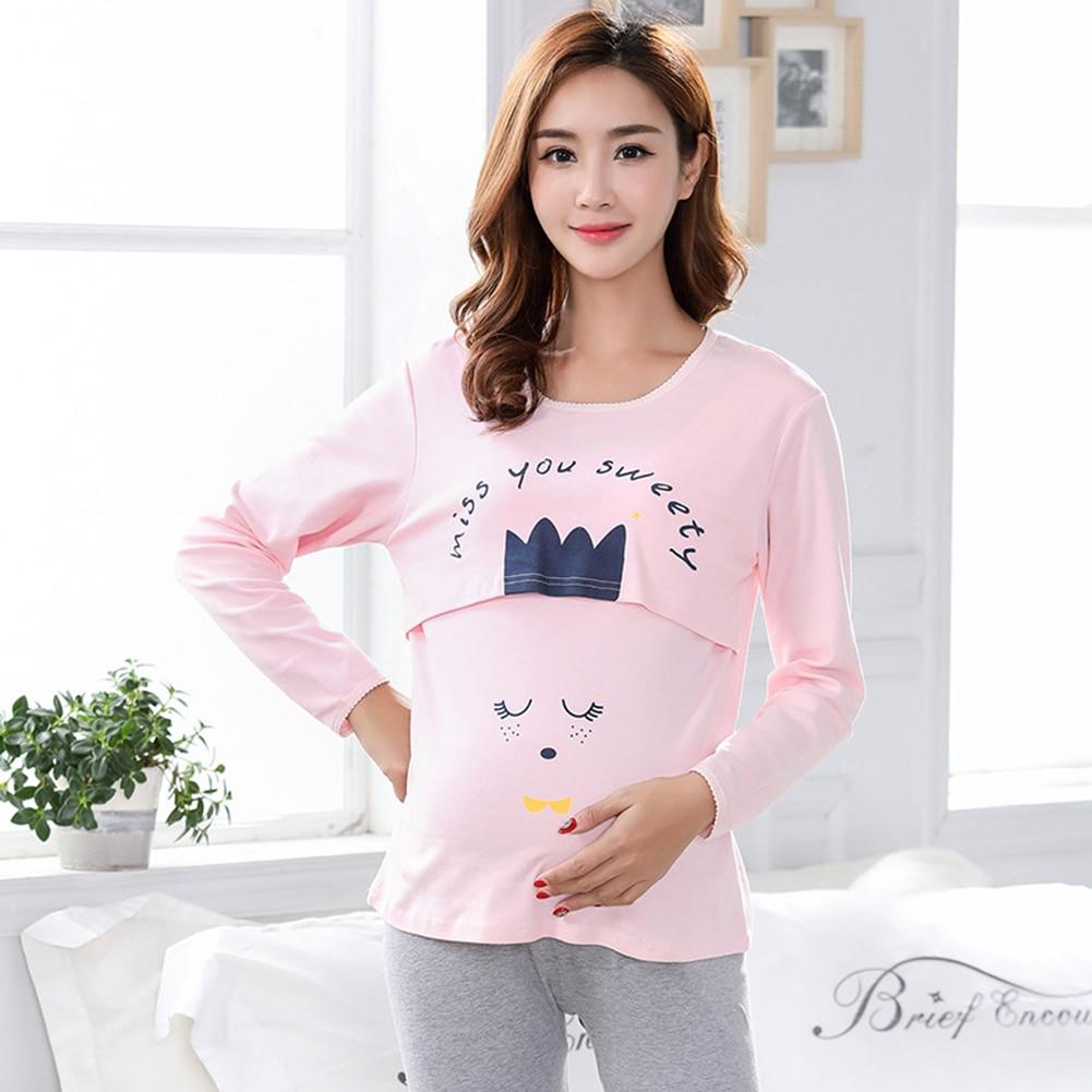 comfortable Specially easy breastfeeding design Cartoon Animal Maternity Nursing Pajama Set Long Sleeve Breastfeeding Top Pants