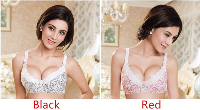 Maternity Nursing Bra Feeding For Pregnant Women Bamboo Fiber Flower Lace Underwear With Wire Anti Sagging Gravidas