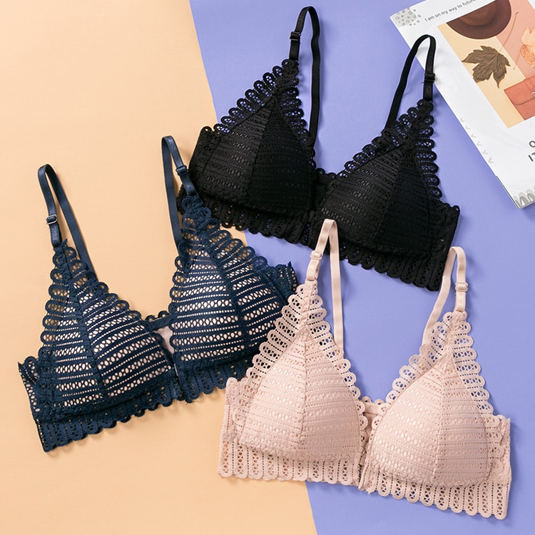 DERUILADY Sexy Lace Wireless Front Closure Bras For Women Sexy Lingerie Comfort Push Up Bra Adjusted Plus Size Backless Bralette