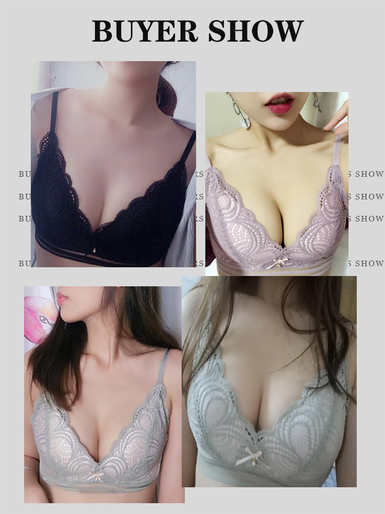 Wire Free Lace Bras for Women Sexy Thin Cup Lingerie Push Up Bra A B Cup