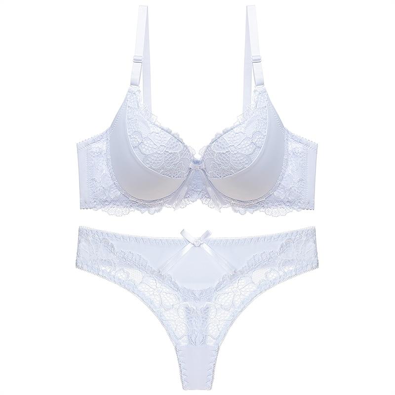 DKERT Women Bra and Thong Set Push Up Brassiere Underwear Femme Panties Lingerie Bralette