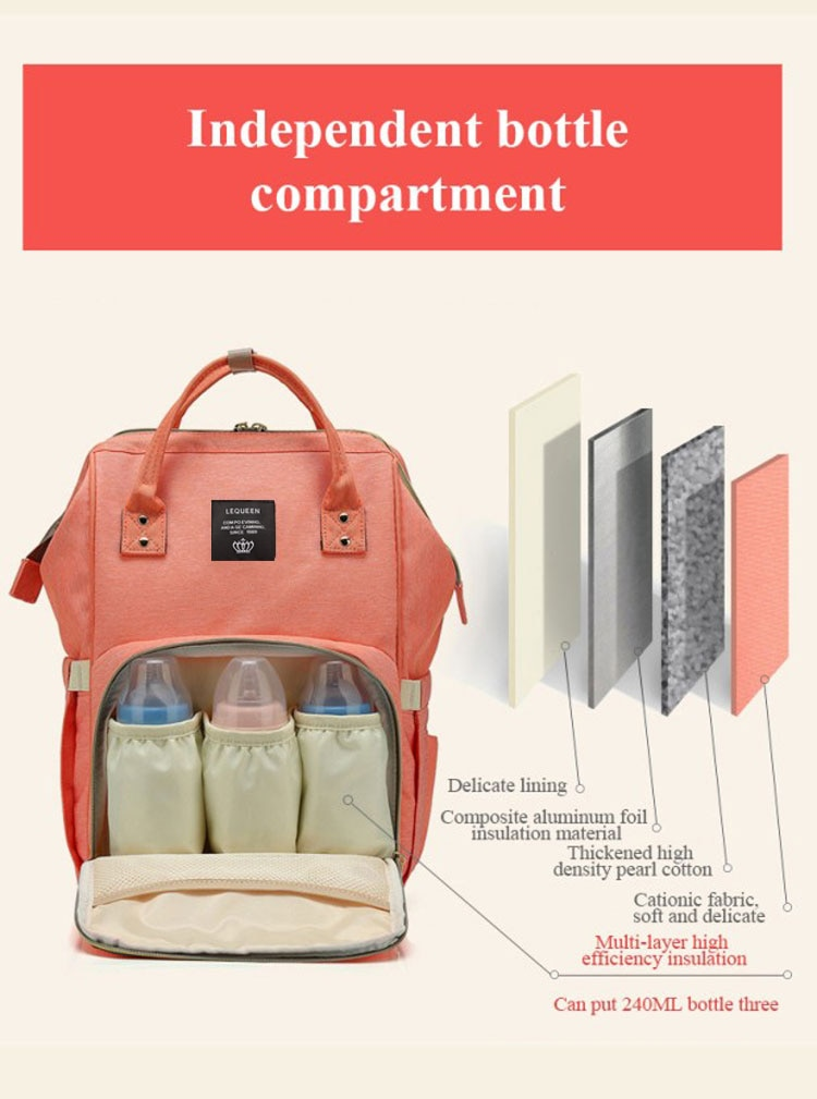 Lequeen Fashion Mummy Maternity Nappy Bag Large Capacity Nappy Bag Travel Backpack Nursing Bag for Baby Care Women's Fashion Bag