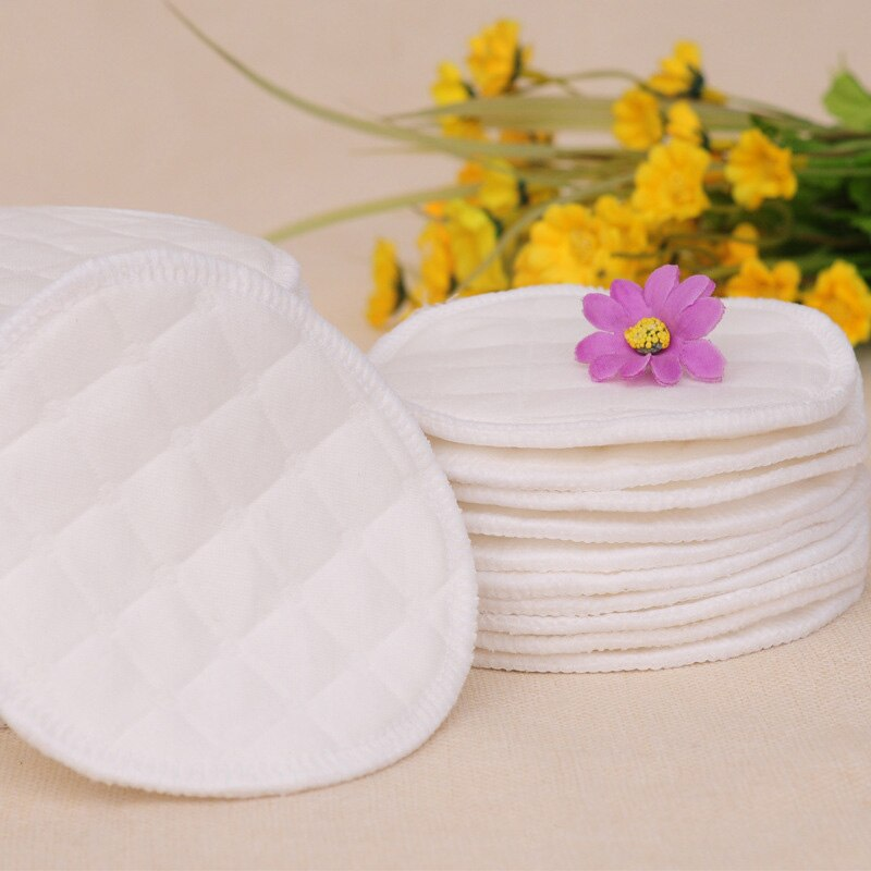 12pc Reusable Nursing Breast Pads Washable Soft Absorbent Baby Breastfeeding Waterproof Breast Pads 3layers Pure cotton