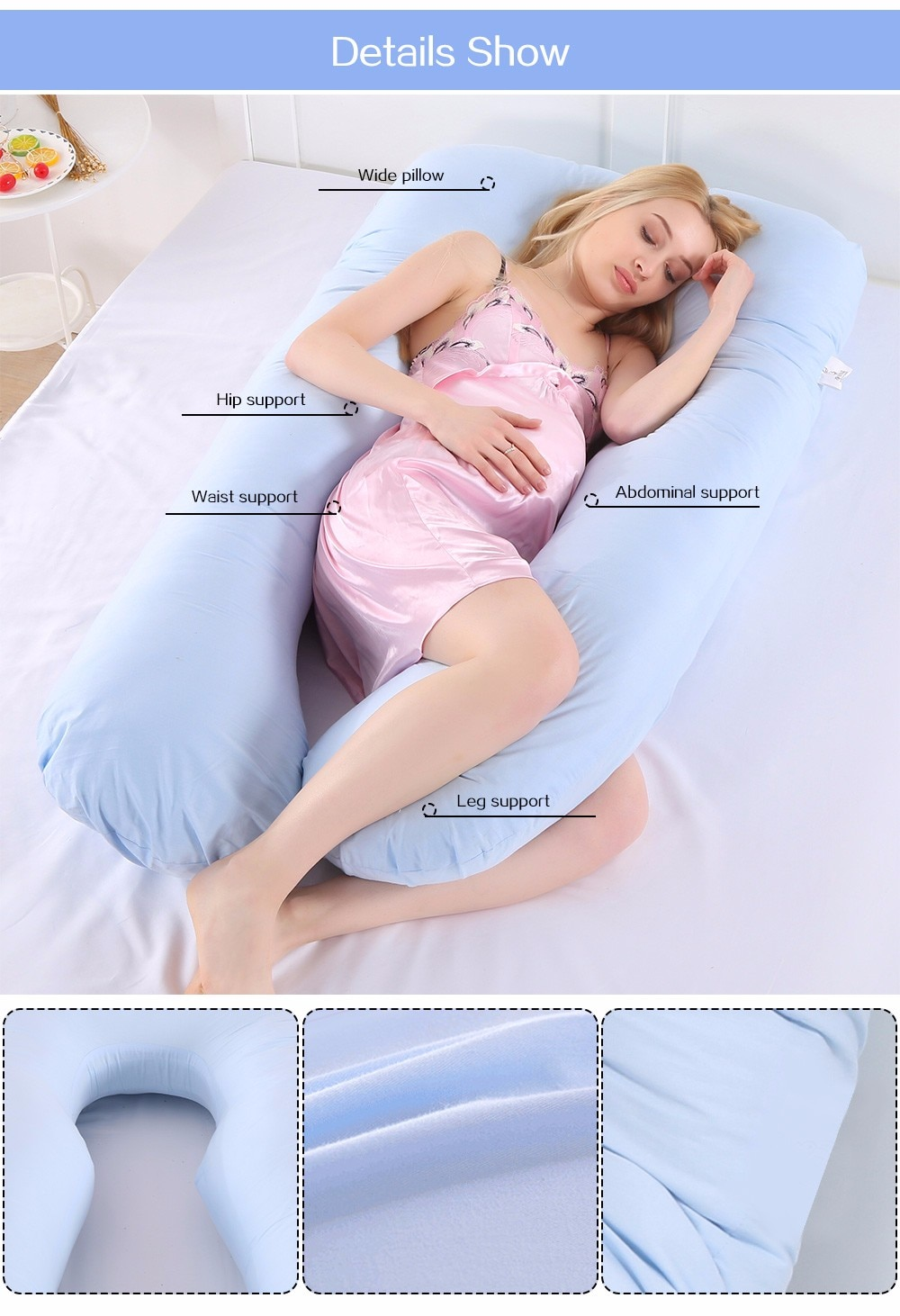 Multifunctional U-Shaped Pregnancy Pillow With Ergonomic Design Comfortable Body Pillows For Side Sleeper Pregnant Women