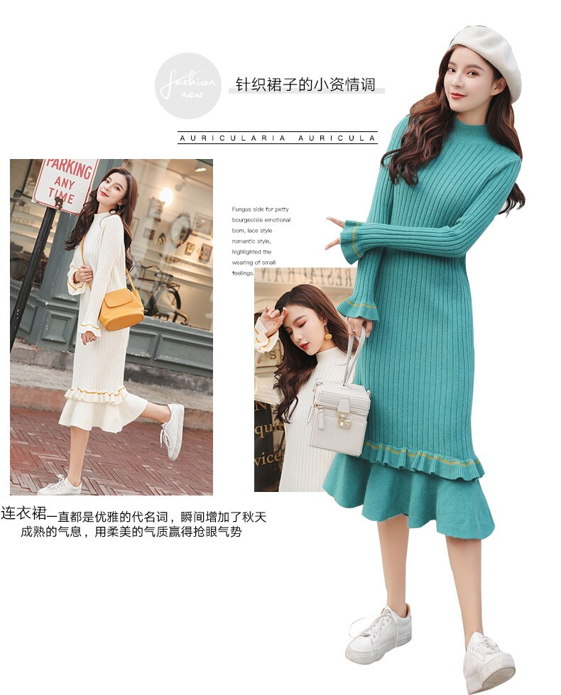 Maternity Knitted Nursing Dress Brest Feeding Slim Fit Cute Elegant Dresses for Pregnant Women Winter Fashion Clothes 4Colors