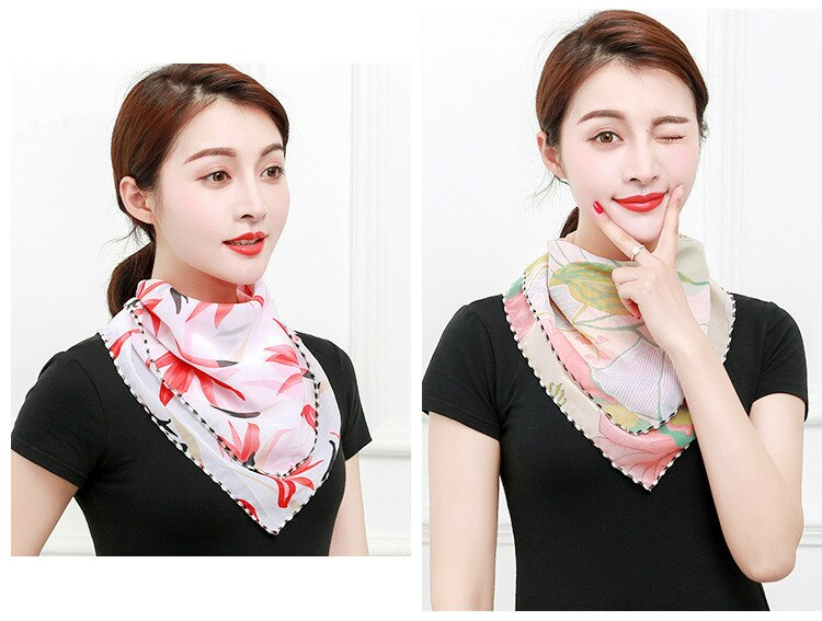 Temperament neck breathable mask new spring and summer anti-UV chiffon thin veil sunscreen multi-function large mask scarf
