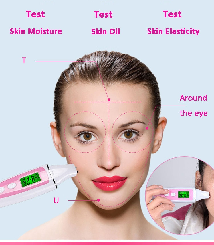 New LCD Digital Skin Moisture Meter Skin Care Tester Moisture Oil Content Analyzer Monitor Detector Face Care Tool Monitoring