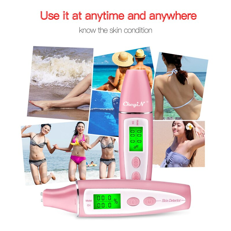 CkeyiN LCD Display Skin Oil Content Moisture Analyzer Skin Care Tool Detector Skin Care Sensor Monitor Memory Moisture Analyzer
