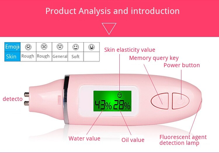 LCD Digital Skin Moisture Meter Skin Care Tester Moisture Oil Content Analyzer Monitor Detector Facial Care Tools Monitoring