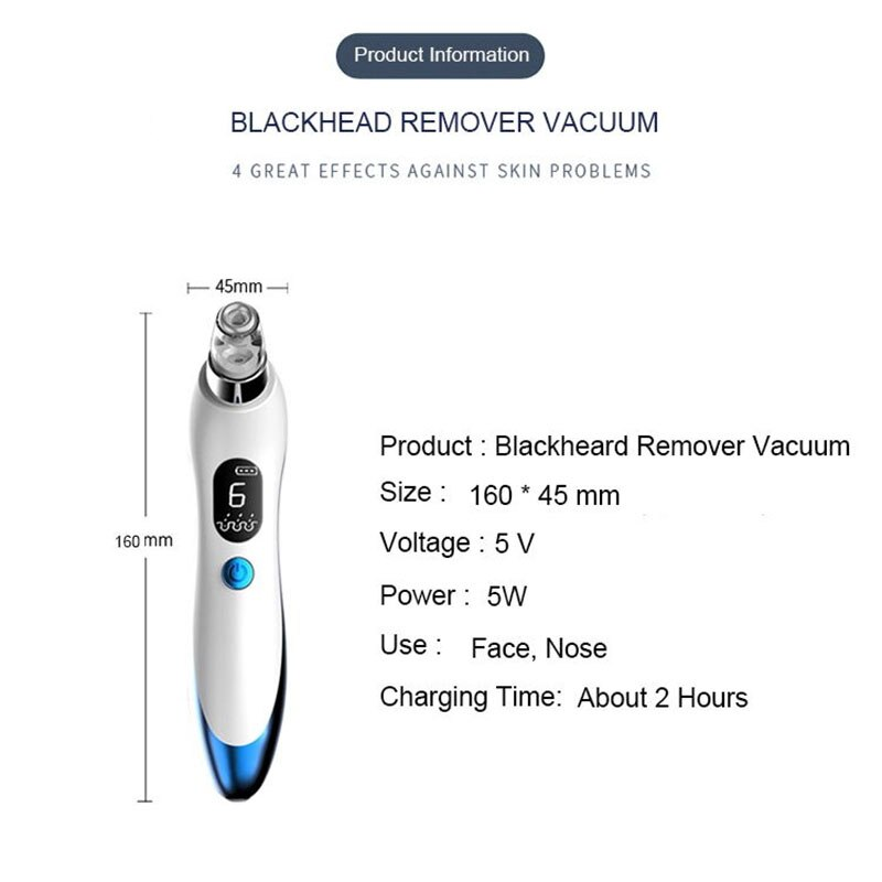 New Blackhead Remover Facial Pore Deep Cleaner Acne Pimple Removal Vacuum Suction Face Skin Care Beauty Tool Cleansing Devices