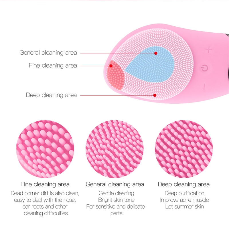 Facial Cleansing Brush Electric Silicone Face Cleansing Brush Sonic Vibration Face Massage Pore Skin Deep Cleansing Beauty Tool