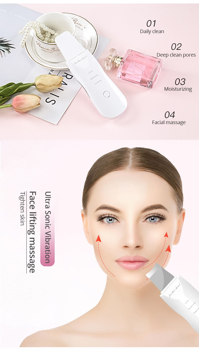Vibrate Skin Scrubber Deep Cleaning Face Scrubber Vibrating Facial Cleansing Skin Spatula Peeling Beauty Instrument Device