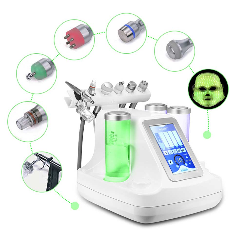 7 in 1 Small Bubble Oxygen & Water Jet Peel Hydrafacial Cleaning Facial Machine RF Blackhead Acne Vacuum Beauty Device Equipment