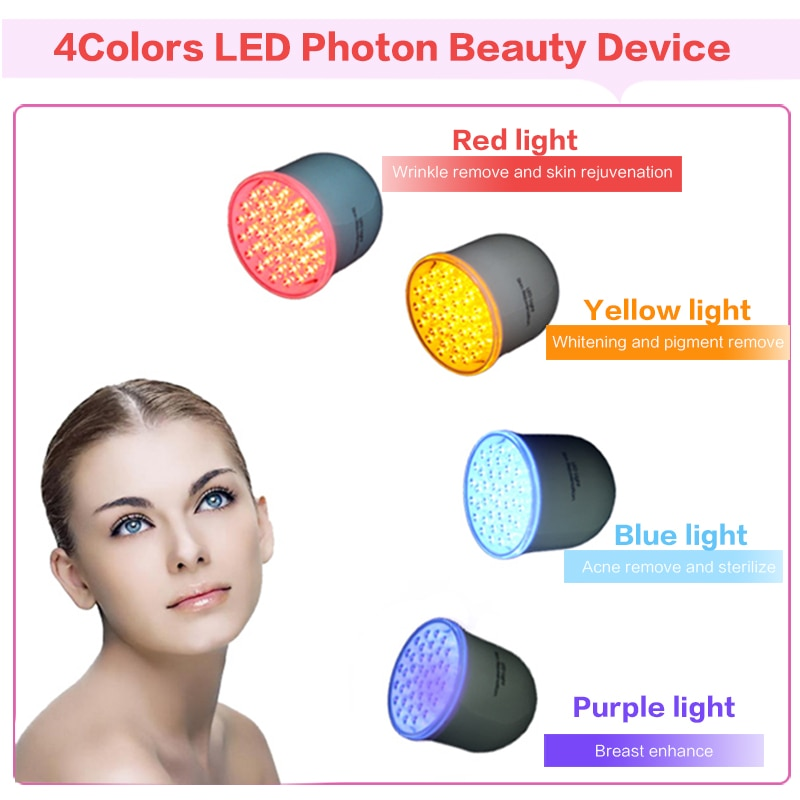 4 color Photon LED Skin Rejuvenation Red Blue Yellow Light Skin Care Tighte IPL Acne Collagen Whitening Therapy Device for face