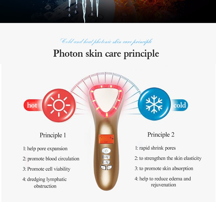 Ultrasonic Cryotherapy LED Hot Cold Hammer Facial Lifting Vibration Massager Face Body Spa Import Export Ion Beauty Equipment