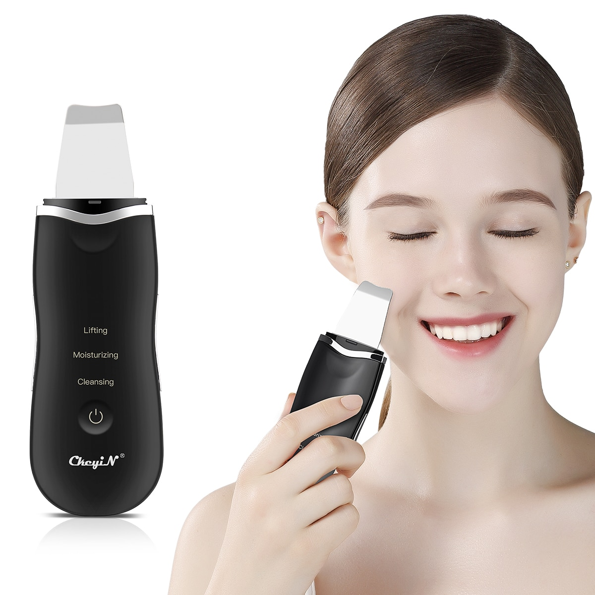 Ultrasonic Skin Scrubber Facial Spatula Deap Cleaning Skin Peeling Face Cleaner + RF EMS LED Beauty Device + Mini Nano mister 48