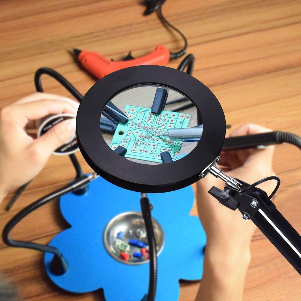 NEWACALOX 5X Illuminated Magnifier USB 3 Colors LED Magnifying Glass for Soldering Iron Repair/Table Lamp/Skincare Beauty Tool