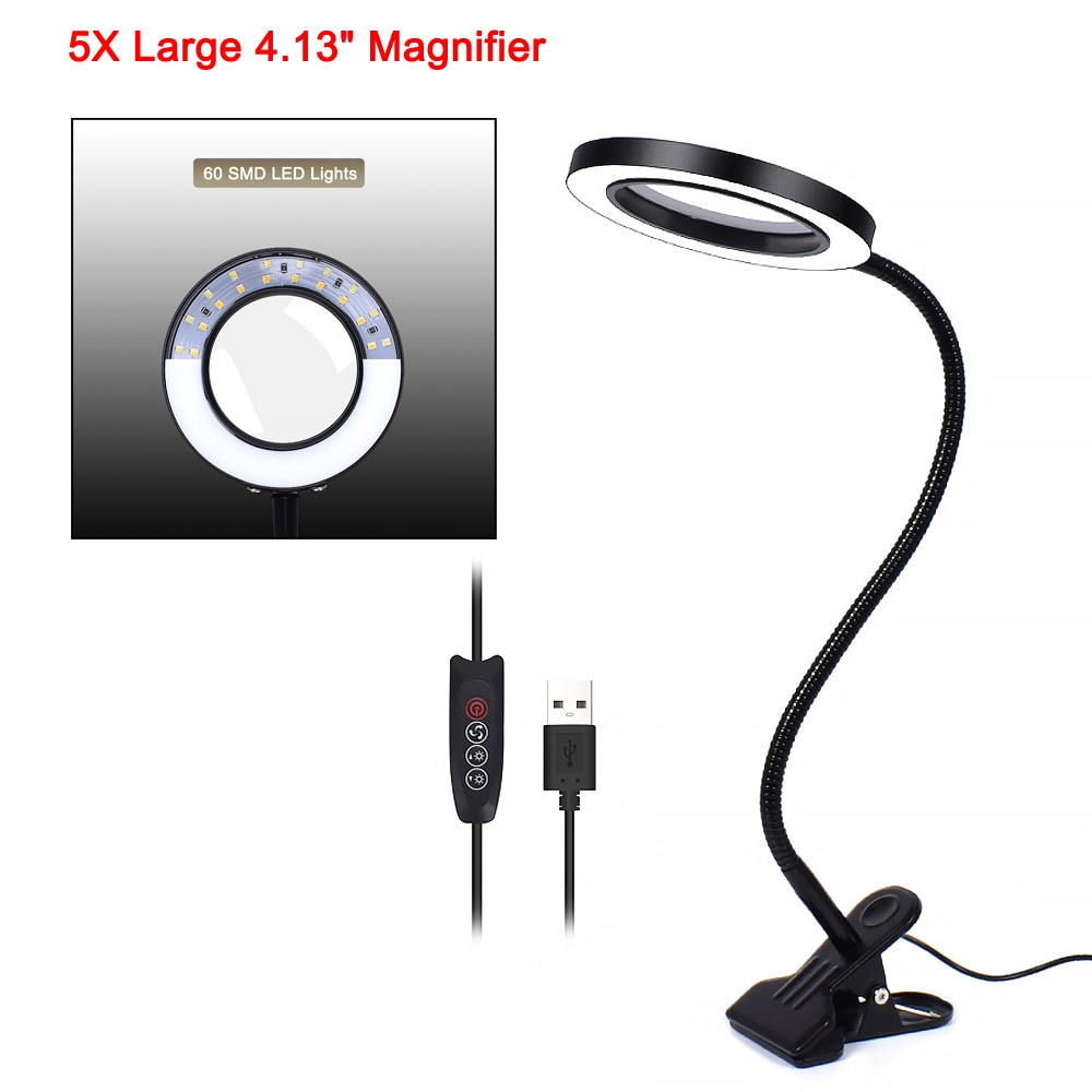 NEWACALOX Flexible 3X/5X USB 3 Colors Lamp Magnifier Clip-on Table Top Desk LED Reading Large Lens Illuminated Magnifying Glass