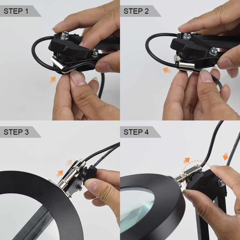 NEWACALOX USB 5X Illuminated Magnifier 3 Color Desk Lamp Magnifying Glass Soldering Third Hand Tool Flexible Reading Loupe