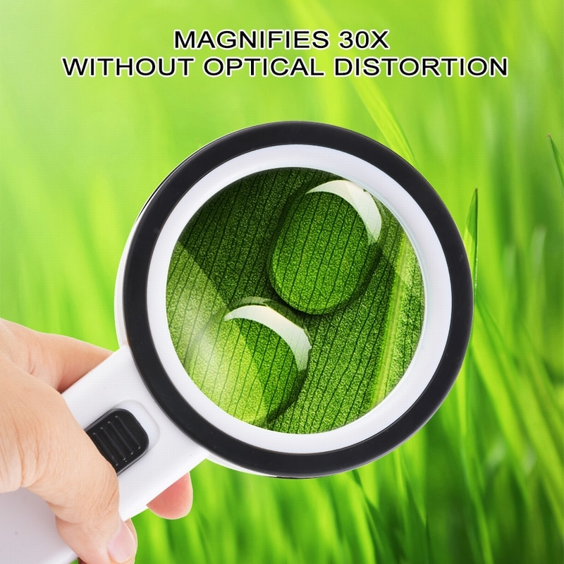 Urijk 1pcs 30X 12LED Lights High Magnification Magnifying Glass Double Lens Upgraded  Magnifier Lamp Magnifying Glass