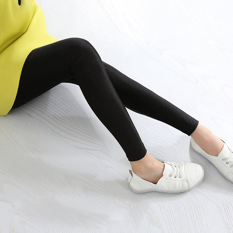 Kids Girls Shiny Skiny Pants 2019 New Arrival Spring Autumn Solid Girls Leggings Pink Gray Children Fashion Clothing 2-16Y GL22