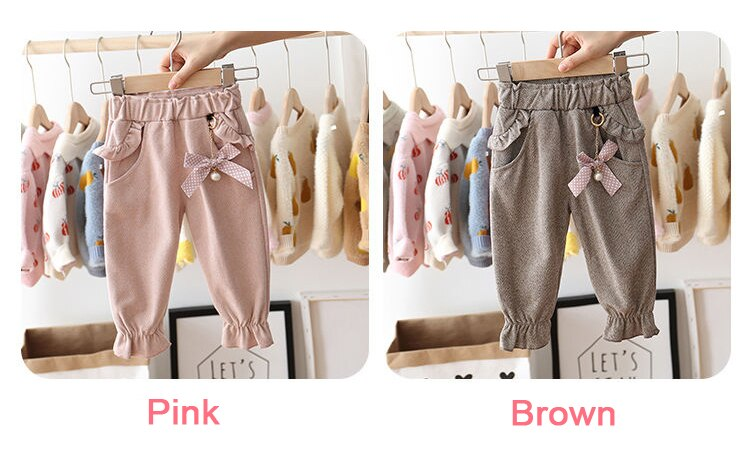 EACHIN Baby Girls Pants 1-5 Years Children Fashion Pocket Trousers Kids Spring and Autummn Warm Casual Long Pants Girl Clothing